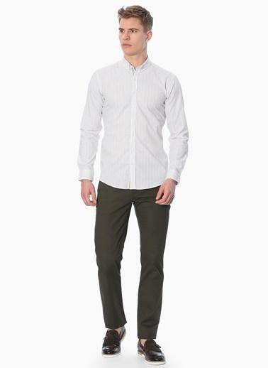George Hogg Çizgili Slim Fit Uzun Kollu Gömlek Beyaz